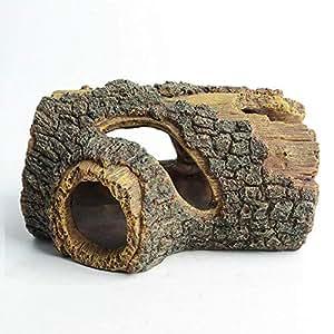 Hygger Cueva Acuario, Resina Hueco árbol Tronco decoración simulación Madera decoración Tronco de Resina Madera de Deriva Adorno Acuario Adorno pecera ...