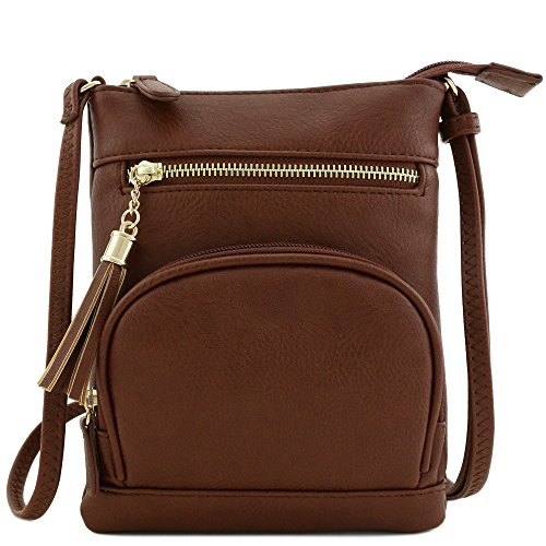 Front Half-moon Zipper Pocket Small Crossbody Bag Coffee