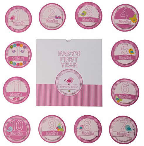 Baby Memory Book - 46 pages & 12 design Monthly Stickers Baby girl First Year