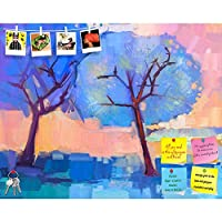 ArtzFolio Abstract Trees in Blue Printed Frameless Bulletin Board Notice Pin Board 25.3 X 20Inch