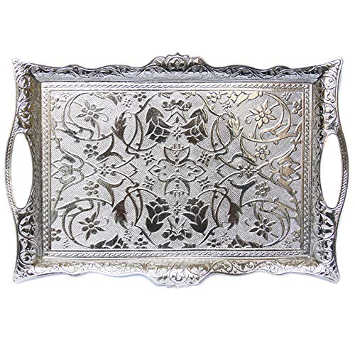 Turkish Ottoman Coffee Tea Beverage Serving Square Tray (Silver)