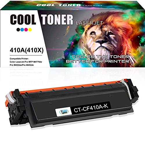 - Cool Toner Compatible Toner Cartridge Replacement for HP 410A CF410A Black Toner for HP Color Laserjet Pro MFP M477fnw M477fdw M477fdn M477 Pro M452dn M452nw M452dw M452 M377DW Printer Toner-1 Pack