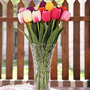 B bangcool 16 Branches Artificial Flower Decorative Simulated Tulip Fake Flower for Easter Decor 3