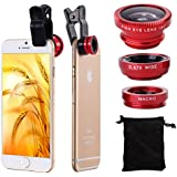 XCSOURCE® Clip 180 Degree Fish Eye Lens + Wide Angle + Micro Lens Kit for iPhone 4 4S 4G 5 5G 5S Samsung Galaxy S3 i9300 S4 i9500 cell phone (red) DC264R