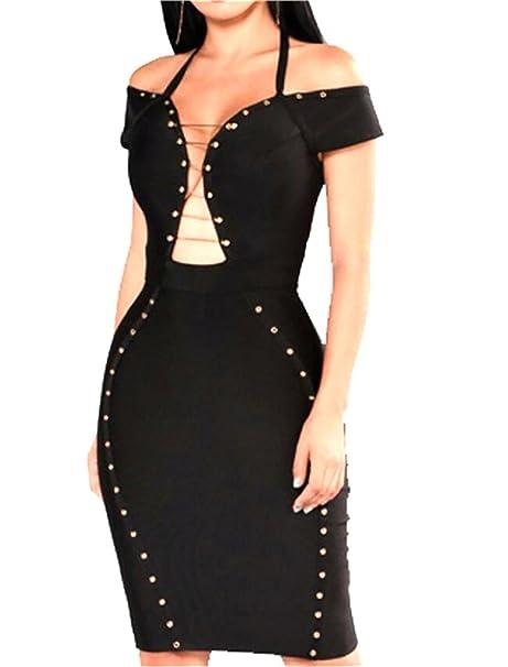 9ffd1d3121 S-Fly Women s Sexy Halter Metallic Off Shoulder Bodycon Clubwear Midi Dress  Black US XXS
