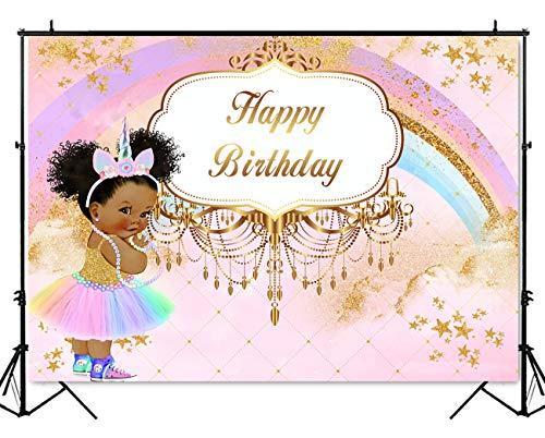 Mehofoto Royal Princess Birthday Backdrop Pink Unicorn Rainbow Birthday Photography Background 7x5ft Vinyl Little Princess Birthday Party Banner Decoration Backdrops -