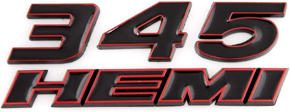 Black with Red outline 2X 345 Hemi Emblem Car Badge Truck Decal Side Sticker For Charger Ram
