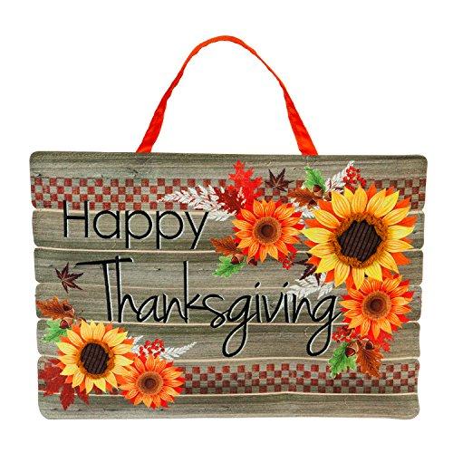 Evergreen Flag Happy Thanksgiving Outdoor Safe Door Hanger