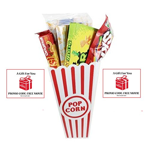 Movie Night Popcorn, Candy And Redbox Movie Gift Basket ~ Includes Movie Theater Butter Popcorn, Concession Stand Candy and a Gift Card for 2 Free Redbox Movie Rentals (Sour Patch Kids) ()