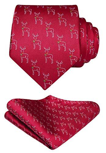 HISDERN Men's Tie Reindeer Animal Pattern Woven Party Necktie & Pocket Square Set
