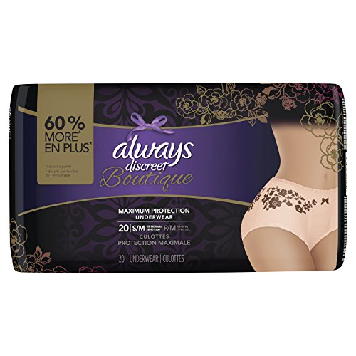 Always Discreet Boutique, Incontinence Underwear for Women, Maximum Protection, Peach, Small / Medium, 20 Count, Packaging May (Maximum Incontinence Protection)