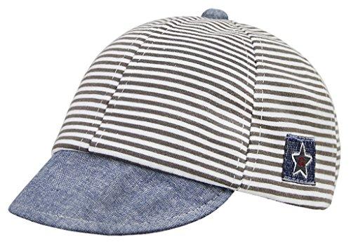 (Infant Cotton Soft Sun Hat Baby Striped Baseball Cap Sun Visors Cap Protection)