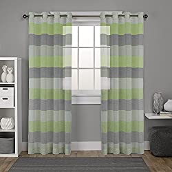 "DEZENE Striped Sheer Curtains for Kids Room - 2 Panels - Faux Linen Grommets Voile Curtains - 54 Inches Width x 96 Inches Long (Total 108"" Wide) - Black, Yellowish Green and White"