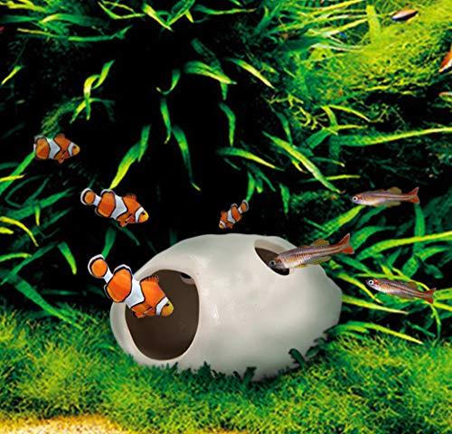 - WSgift 2 Pack Safe Bone White Ceramic Aquarium Decorations Small Skull Stackable Fish Tank Decor Cave for Hiding, Betta Fish Accessories