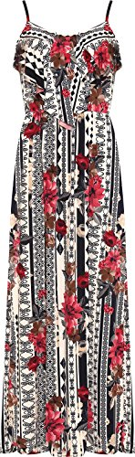 Wearall Femmes Taille Plus Moulantes Imprimé Floral Robe Maxi Jabot Longue Crème Complète En Couches