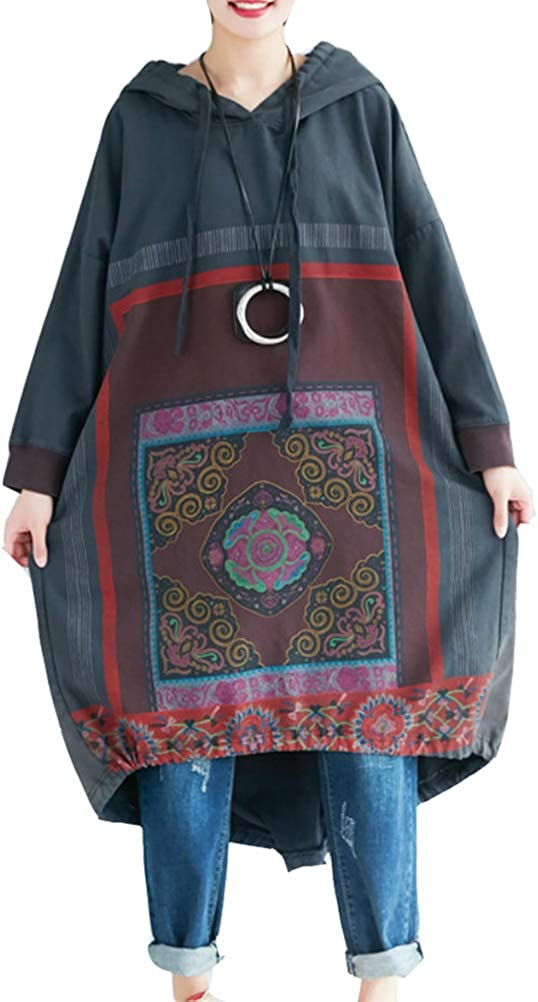 Womens Autumn Loose Fitting Printed Floral Patchwork Hooded Cotton Dress With Pockets Casual Dress Autumn Dress For Women Casual Hoodie