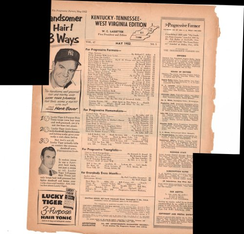 - Lucky Tiger Hair Tonic 3-Purpose Hank Bauer Baseball 1952 Antique Advertisement