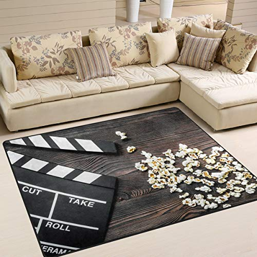 ALAZA Movie Clapboard Cinema on The Wooden Vintage Area Rug Rugs for Living Room Bedroom 7' x 5']()