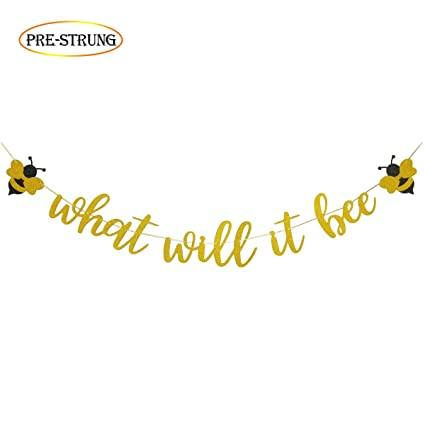 Amazon What Will It Bee Gold Glitter Banner For Bumble Bee