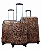 HEYS USA 3-Piece Novus Art Exotic Leopard Animal Print Spinner Upright Luggage Set, Bags Central