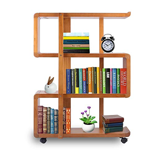 Rolling Bookshelf - Kendal 4 Tiers Wood Bookshelf Rack Organizer with Dismountable Construction and Lockable Casters WBS01AK