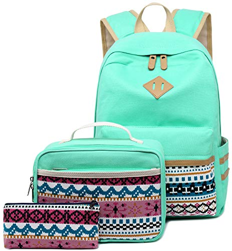 School Backpack Girls Women Travel Casual School Rucksack Bookbag for Teens (A3/Mint Green -3pcs)