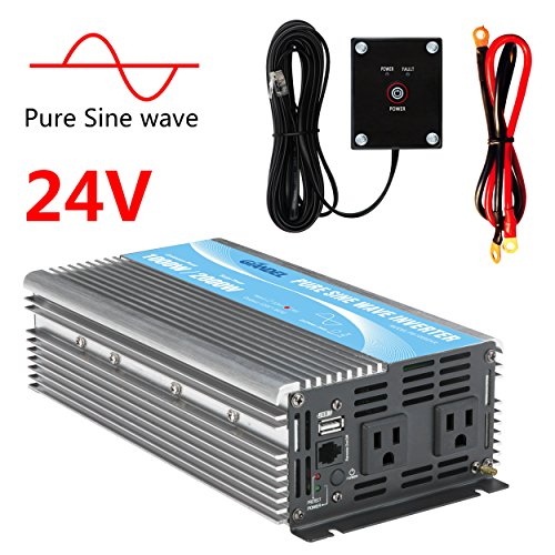 GIANDEL Pure Sine Wave Power Inverter 1000W DC 24V to AC 110V 120V with Remote Control with Dual AC Outlets &1A USB Port for RV Truck Car Solar System and (24v Sine Wave Inverter)