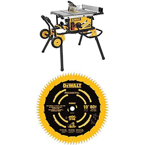 DEWALT (DWE7491RS) Sierra de mesa de 10 pulgadas, capacidad de corte de 32-1 / 2 pulgadas + DEWALT DW3219PT Hoja de sierra de corte transversal fino 80T de 10 pulgadas