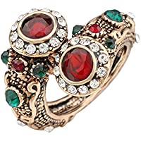A.Yupha Turkish Red Rings Antique Gold Color Womens Jewelry Double Head Red Gem Stone F (7)