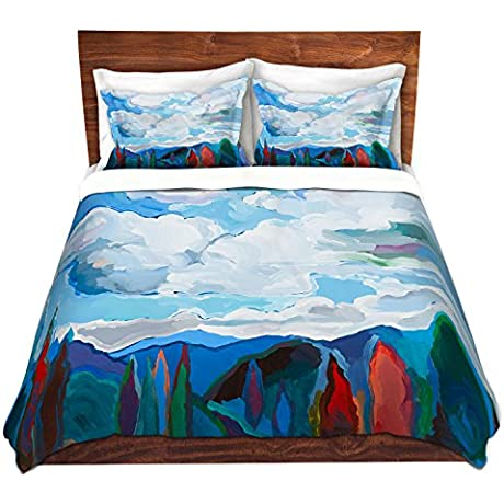 DiaNoche Designs Hooshang Khorasani Color And Clouds Brushed Twill Home Decor Bedding Cover 8 King Duvet Sham Set