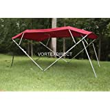 """Burgundy Vortex 4 Bow Bimini Top 6' Long, 91-96"""" Wide, 54"""" High, Complete Kit, Frame, Canopy, and Hardware (FAST SHIPPING - 1 TO 4 BUSINESS DAY DELIVERY)"""