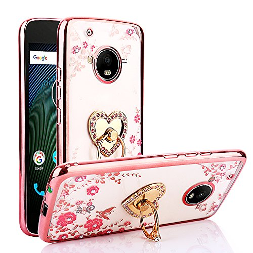 CaseHaven Moto G5 Plus Case, Glitter Crystal Heart Floral Series - Slim Luxury Bling Rhinestone Clear TPU Case with Ring Stand for Motorola Moto G5 Plus (2017) - Rose Gold
