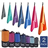Sfee Microfiber Sport Travel Towel Set-60'x30'+24'x15'-Quick Dry Absorbent Compact Lightweight Soft Beach Yoga Bath Hand Gym Towels-Fit for Outdoors Fitness Hiking Camping+Carabiner(L Mint)