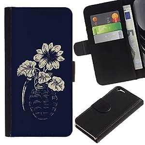 KLONGSHOP // Tirón de la caja Cartera de cuero con ranuras para tarjetas - Flor de la granada del inconformista del arte - Apple Iphone 6 //