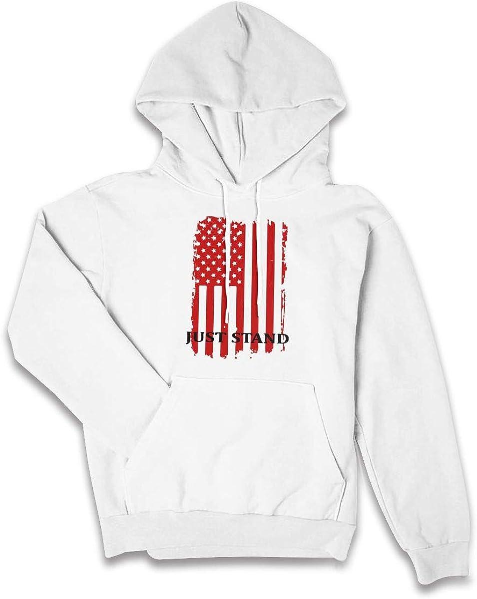 Surf/&Nee Just Stand American Flag Womens Hoodie Pullover Fleece Sweatshirt with Pocket