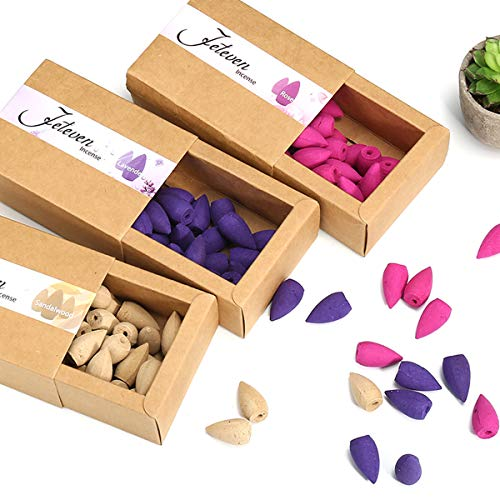 Lavender Incense Cones - Jeteven 120pcs 3 Box Backflow Incense Cones Sandalwood Lavender Rose Mixed Natural Incense Stick Kitchen Incense Fragrant Cone