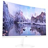 HKC 24 inch Curved LED White 1080P Gaming Computer Monitor 1800R Full HD HDMI VGA, Eye-cared