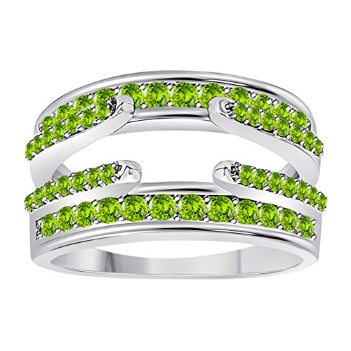 (Jewelryhub 14k White Gold Plated Combination Curved Style Cathedral Wedding Ring Guard Enhancer with CZ Green Peridot (1.10 ct. tw.))