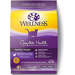 Wellness Complete Health Natural Healthy Weight Dry Cat Food, Chicken Meal & Rice, 12-Pound Bag