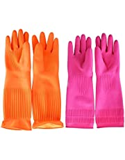 Smakinfly Cleaning Gloves,Reusable Long Rubber Gloves Kitchen Household Dishwashing Gloves(Pink&Orange)