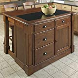 Cheap Home Styles 5520-9459 Aspen Kitchen Island with Drop Leaf/Granite Top and Two Stools, Rustic Cherry Finish