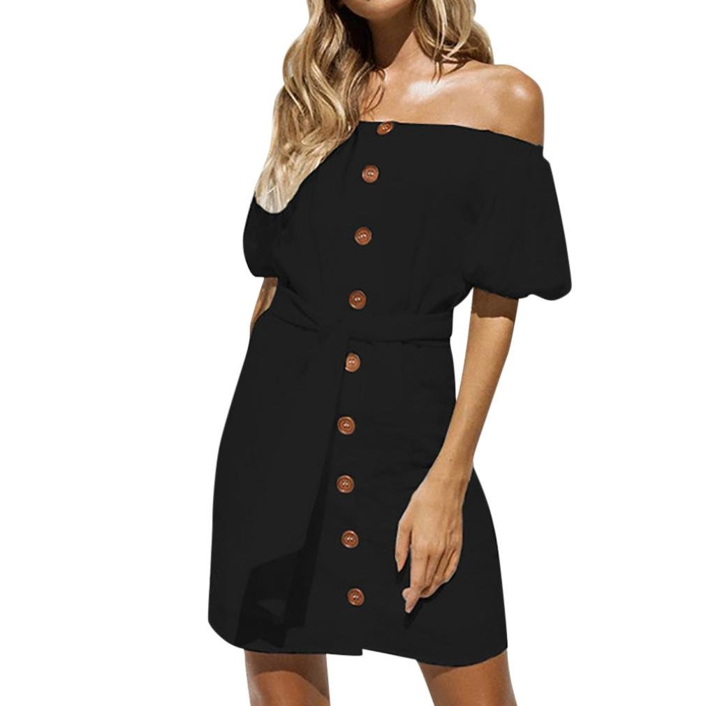 Spbamboo Women Casual Off Shoulder Backless Dress Loose Party Dress Sundress by Spbamboo