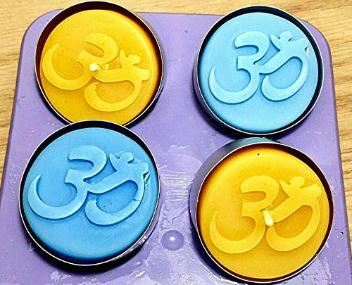 (Silicone Tea light candle Mold wax melt Indian OM sign easy release 4 cavity Homemade )