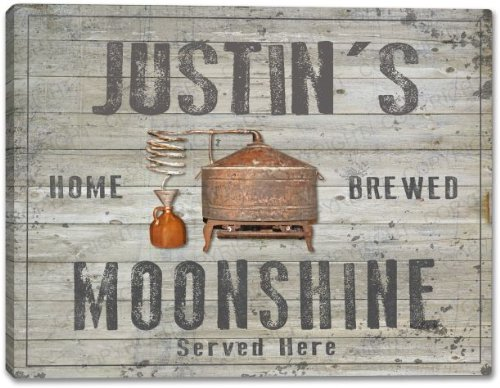 JUSTIN'S Home Brewed Moonshine Gallery Wrapped Canvas Sign Home Wall Decor Bar Gift 24