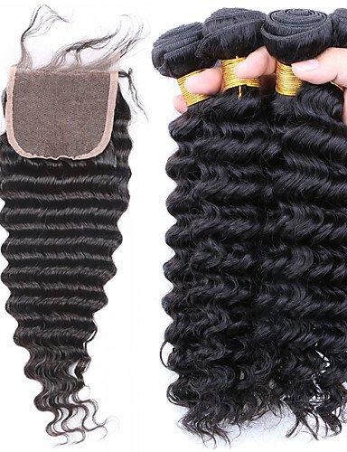 De Faisceaux Regroupe 12 Brésilien Armure Jff Fermeture Part Avec 12 Lacets side Vague À 4 Brésilienne Profonde Cheveux 1pc 6xzwxAPp