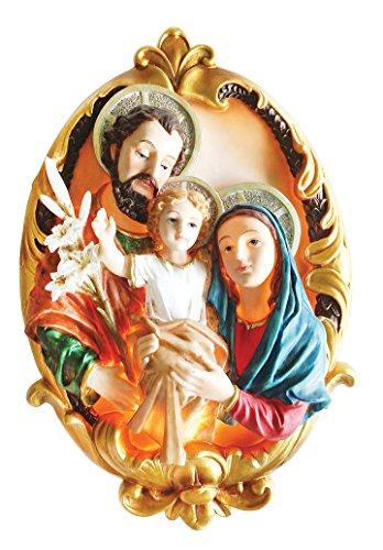 (15.8 Inch Holy Family with Light Home Decoration Lamp Decorative Votive Religious Light Pendant Saint Mary, Saint Joseph and Jesus Statue)