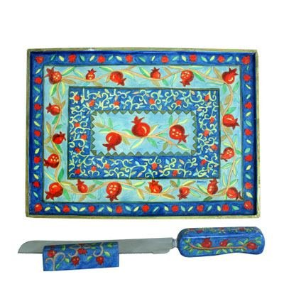 Challah Board Cutting Plate - Yair Emanuel WOODEN CHALLAH BOARD KNIFE AND STAND POMEGRANATES (Bundle)