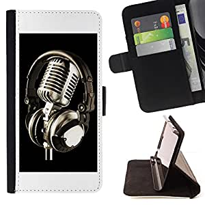 - Microphone Vintage Microphone - - Monedero PU titular de la tarjeta de cr????dito de cuero cubierta de la caja de la bolsa FOR Apple Iphone 5C RetroCandy