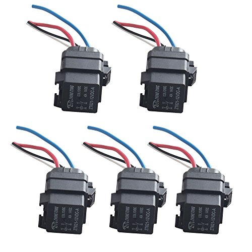 - ESUPPORT Car Truck Motor Heavy Duty 12V 40A SPST Relay Socket Plug 4Pin 4 Wire Waterproof Seal Pack of 5