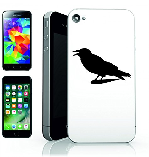 Smartphone Case Corvo di Raven-isolato silhouette di uccello nero animale scuro di Gothic per Apple Iphone 4/4S, 5/5S, 5C, 6/6S, 7& Samsung Galaxy S4, S5, S6, S6Edge, S7, S7Edge Huawei HTC–Div